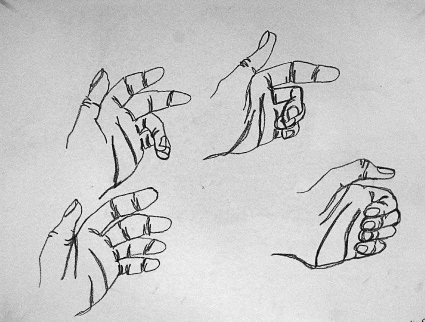 Contour Line Drawing Of Hand : Taipei american school art department student gallery